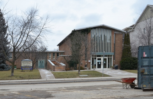 Donway Baptist church, built in the late 1960s, brick building