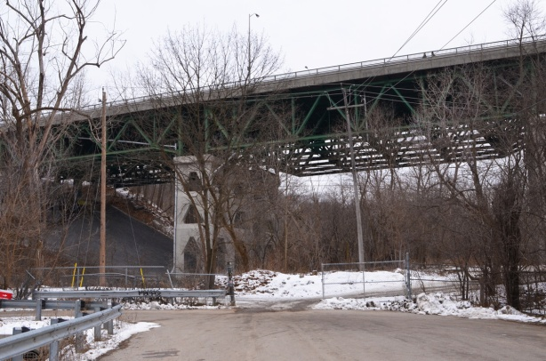 the end of Lawrence Avenue at Bayview, the Bayview bridge crossing the ravine far above