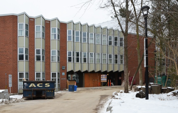 residence building, Glendon College, three storey red brick building with windows