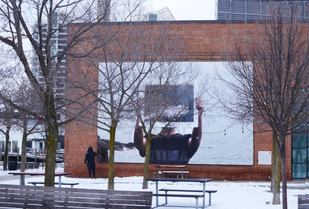 large photograph by Dewit Petros on the south wall exterior of the power plant contemporary art gallery
