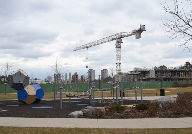 playground in the front, construction behind that, and Scarborough skyline in the distance