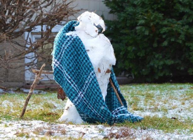 a melting snowman with a blue and black plaid cloth around it, looks a bit like a large bid witha sharp curved beak