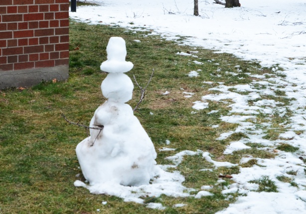 small, partially melted snowman with stick arms,