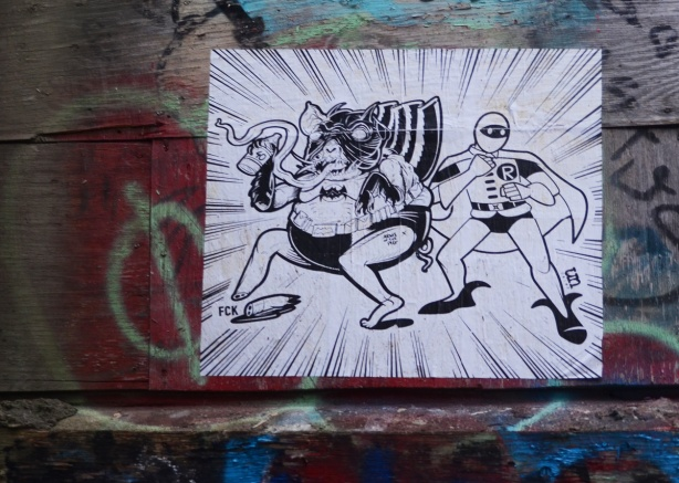 black and white poster paste up in graffiti alley, urban ninja squadron with another character in a cape and super hero outfit