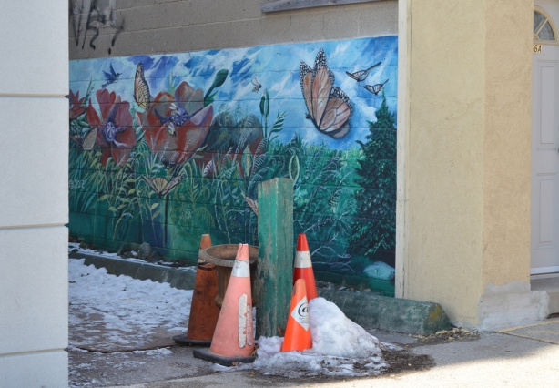 small mural with butterflies and flowers in an entrance to a passageway, some orange and white cones in front of the mural