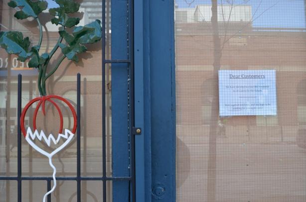 sign in a restaurant window