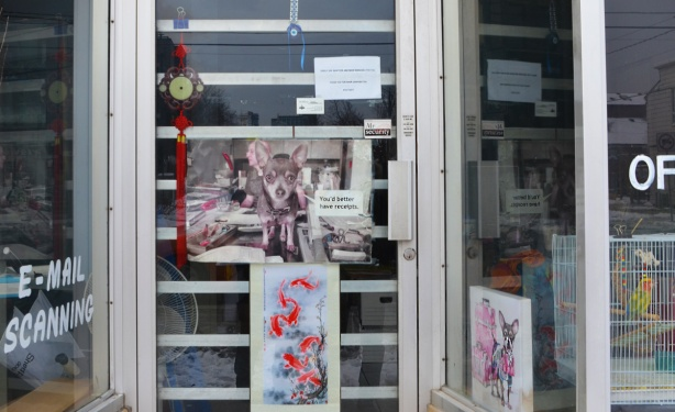 glass door and windows of storefront with signs and pictures. picture of a small dog,