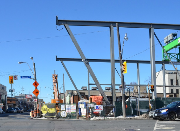 metal support beams for construction of new Avenue Road subway station, Crosstown