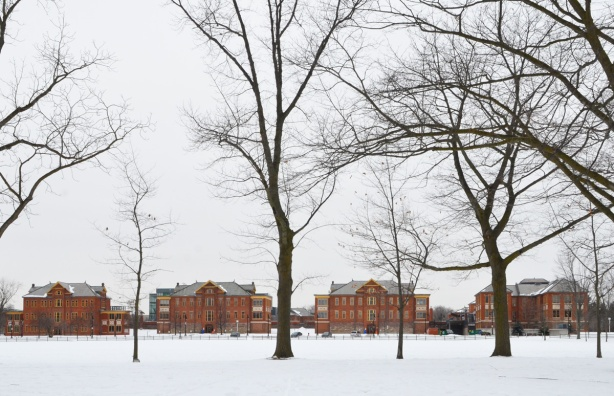 from a distance, Humber college brick buildings, lakeshore campus, snow and bare trees
