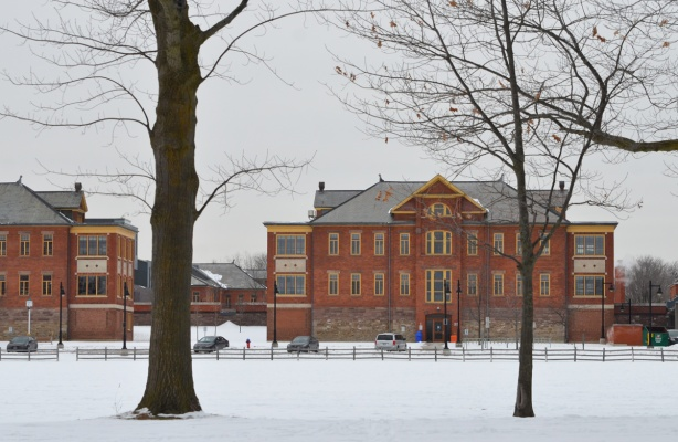 Humber college brick buildings, lakeshore campus, snow and bare trees