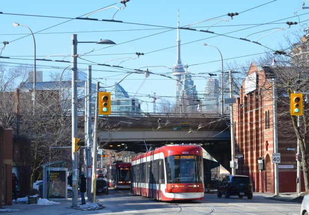 TTC streetcar on King as it goes under the Richmond Street overpass from the Don Valley Parkway