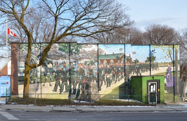 large mural on the side of Legion 13 building on Kingston Road, parade of soldiers