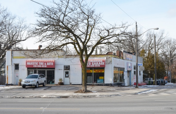 looking across the street to Majestic Auto service and Fallingbrook garage, two businesses that share a building