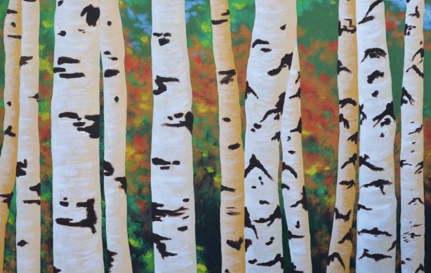 mural of birch tree trunks