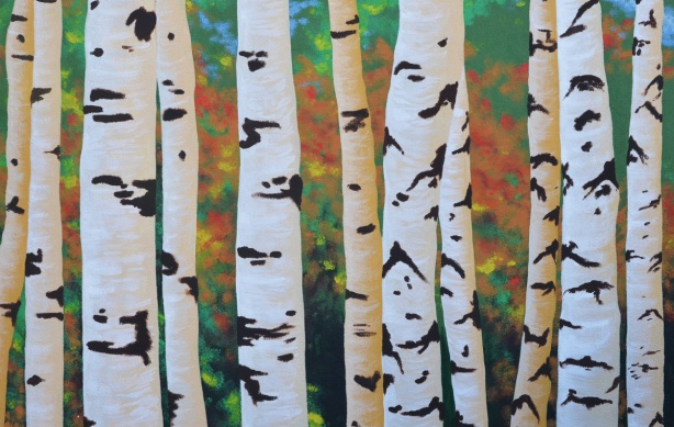 mural of birch tree trunks
