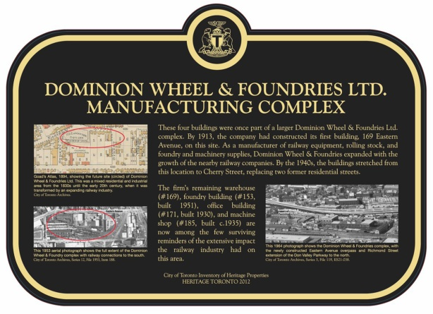 plaque at former Dominion Wheel and Foundries Company on Eastern Avenue