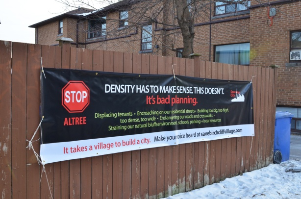 banner, density has to make sense, protest agains Atlree developers and their plan to redevelop Lenmore Court
