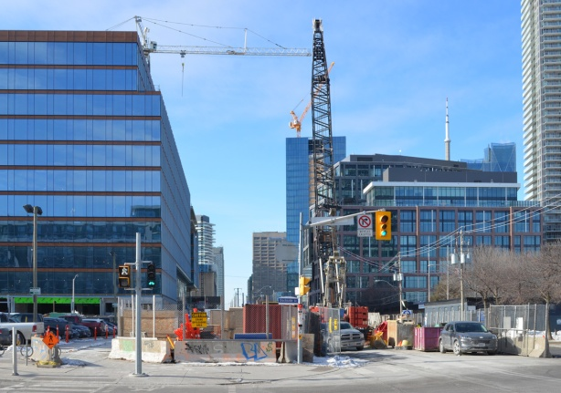 looking west on Queens Quay from Lower Sherbourne, construction,