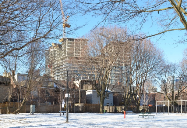 looking west through Sackville Park, to city buildings behind, snow on ground