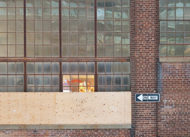glass windows of the old foundry building