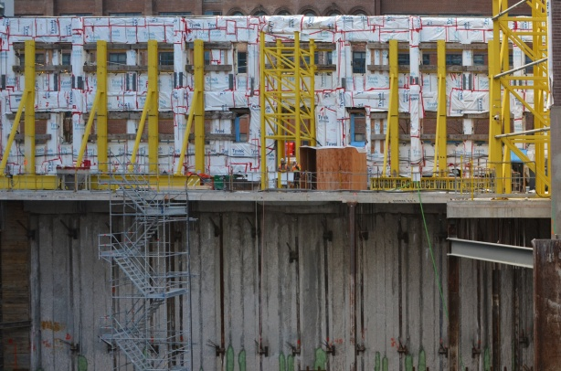 construction site, Adelaide street, new condo building, but with retention of the old facade