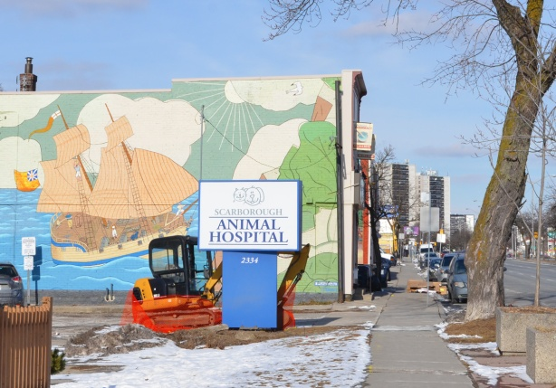 mural routes mural on Kingston Rd, historic scene, schooner Onondaga