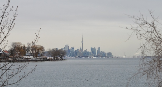 Toronto skyline from Colonel Sam Smith park, lake ontario in between