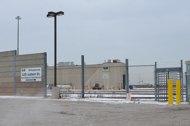 outer wall of Willowbrook GO facility in Mimico. Large walls,