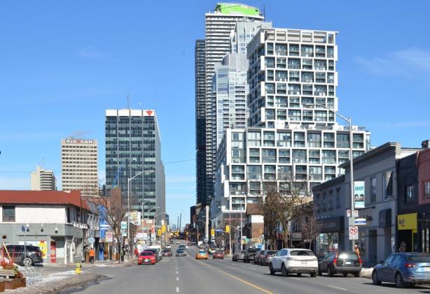 looking northup Yonge Street, from Lola Rd., towards Eglinton Avenue