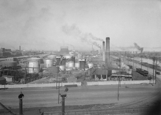 1931 photograph, vintage, black and white, of British American oil refinery just north of the Keating Channel and just west of the Don River,