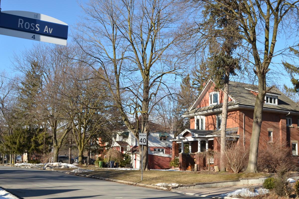 residential street in Agincourt, brick houses, Ross Avenue street sign