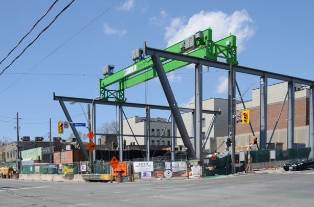 Photo from May 2020, construction of Avenue Road subway station