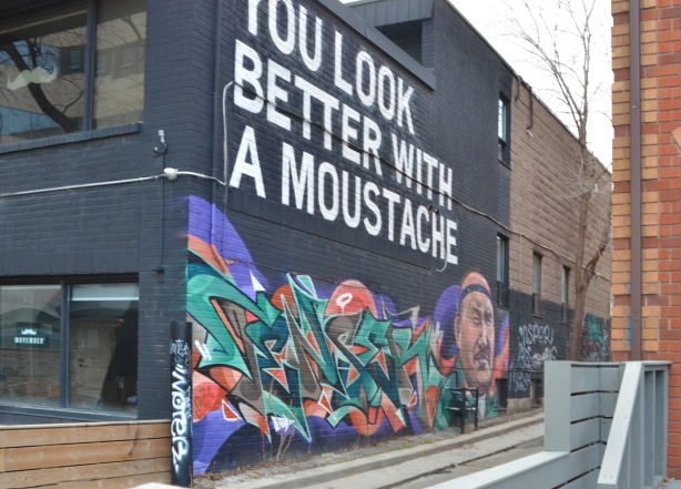 you look better in a moustache mural, with a man with a moustache, a movember mural