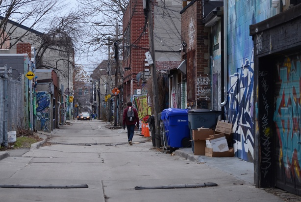 a person walks away from the camera, down an alley, with garages on both sides, with graffiti and street art them