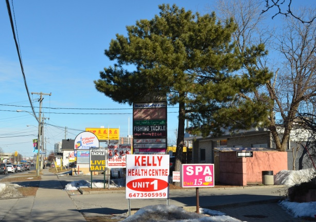 signs along Sheppard Ave East