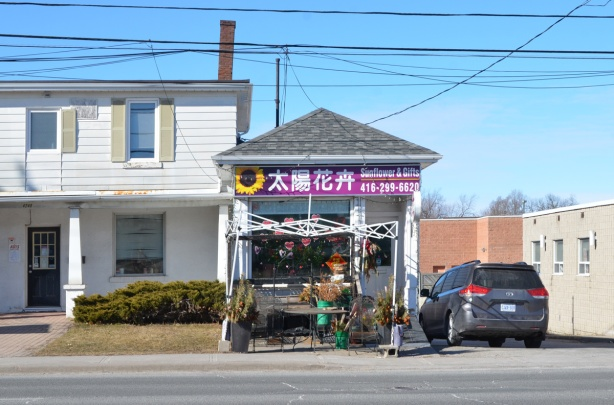 a small skinny flower store on Sheppard
