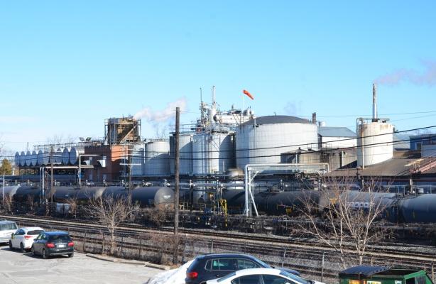 steel tanks, rail line, industrial area