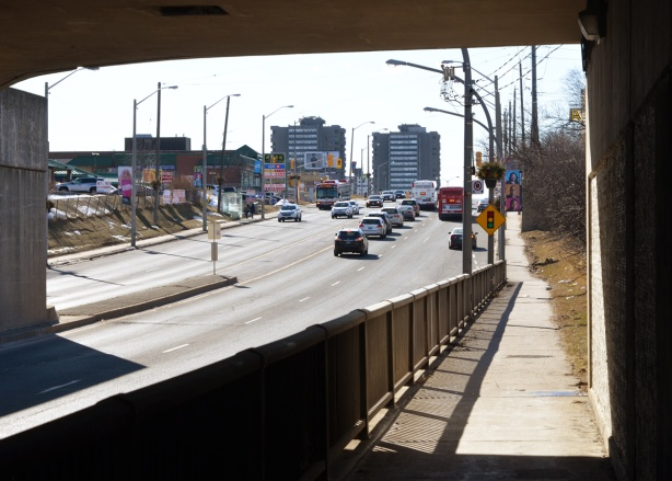 looking along Sheppard East from the railway underpass