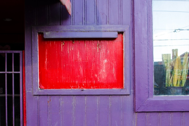 part of a purple wall with a red rectangle, edge of a window with a succulent plant in the window, also part of a gate in front of a door