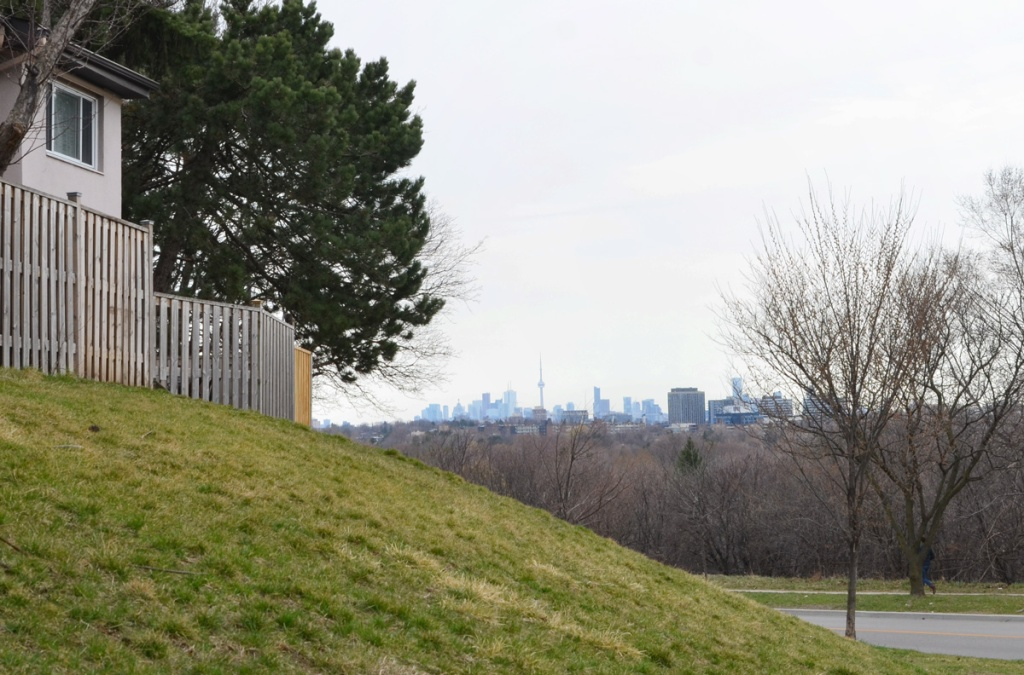Looking beyond a fence and some houses to see the CN Tower and Toronto downtown skyline in the distance