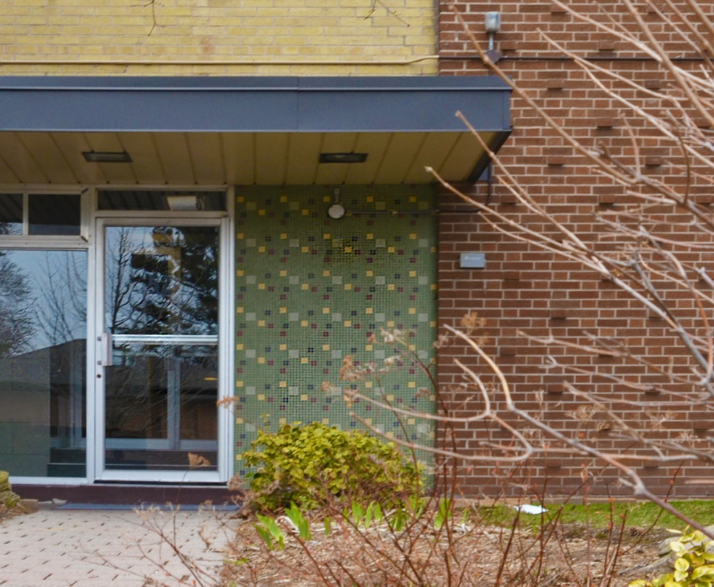 tile pattern beside a glass door