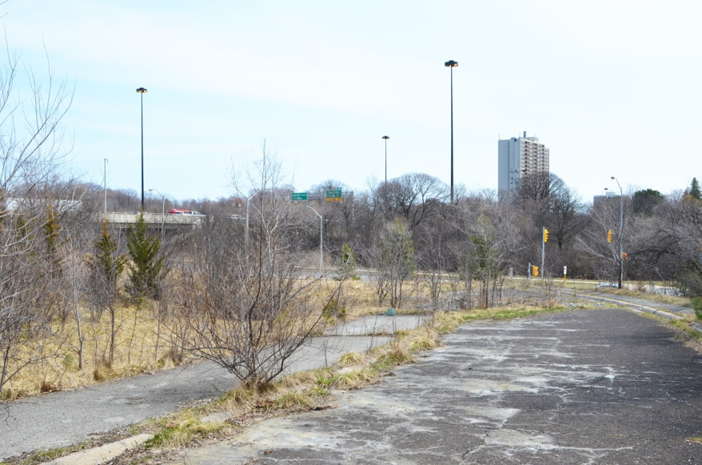 Looking south along remains of an abandoned on ramp for the DVP at York Mills Road, later winter,