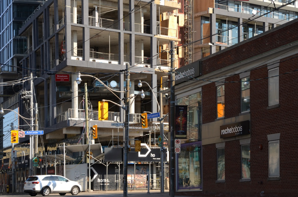 new condo construction on the northeast corner of Parliament and Adelaide