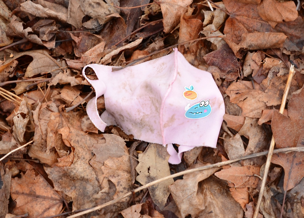 a pink covid mask lies on the ground, on top of dead leaves.  The mask has a picture of a peach on it.