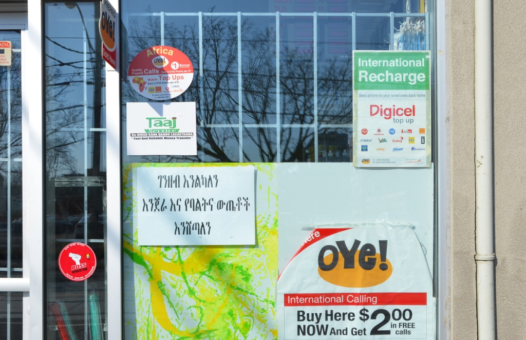 signs in a small store window, written in a different alphabet, also ads for different calling cards for international phone calls, including specifically Africa