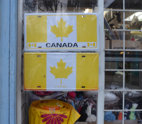 in a store window, fake licence plates with Canadian flags that have faded to yellow and white