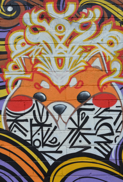 part of a mural, orange and white animal face with other symbols and abstracts