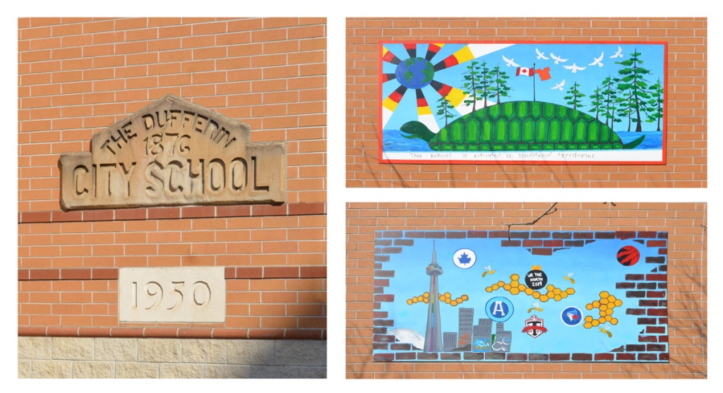 composite of 3 images.  First is carved stone piece from original 1876 Dufferin City School.  Two images of murals on the exterior wall of the school.  one is turtle island representation and other is the symbols of all the Toronto sports teams with CN Tower and city skyline