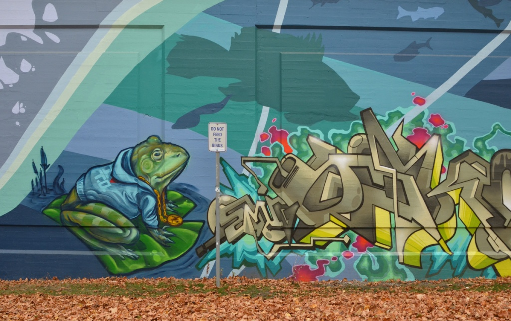 part of a mural on an outdoor wall, a frog in a blue hoodie sitting on a lily pad, frog has gold chain and medallion around his neck