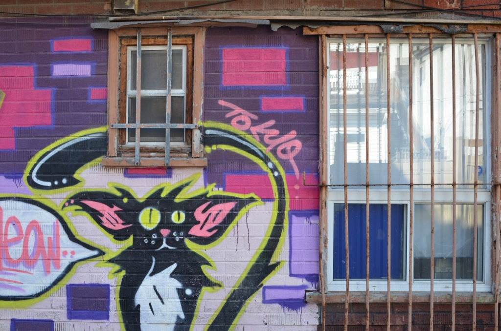 mural of a black and white car with pink inner ear saying meow, mural signed bu tokyo on a wall with two barred windows